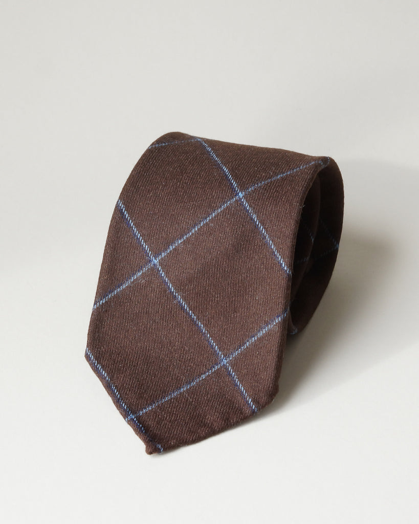 Chocolate windowpane wool tie