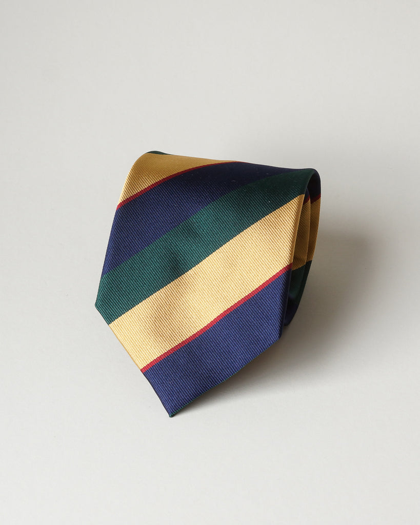 Green, navy & gold striped silk tie