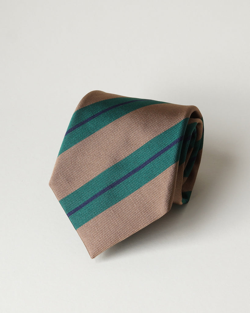 Light brown, green & navy striped silk tie