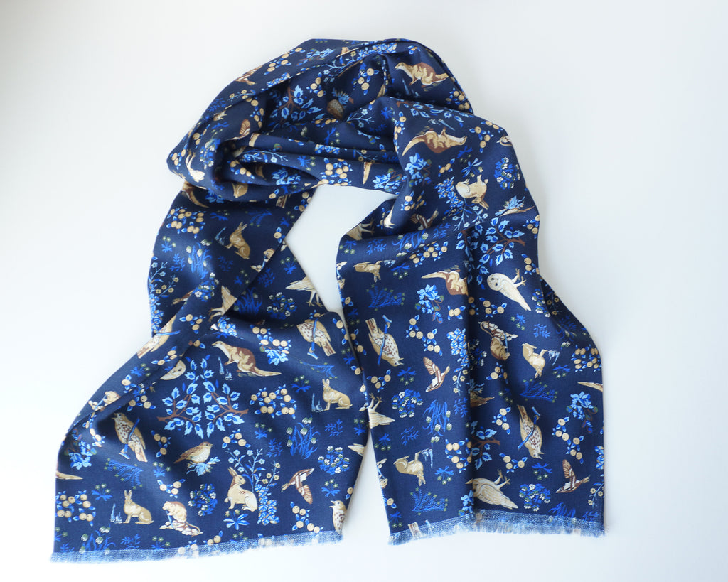 Navy blue woodland print pin-fringed scarf