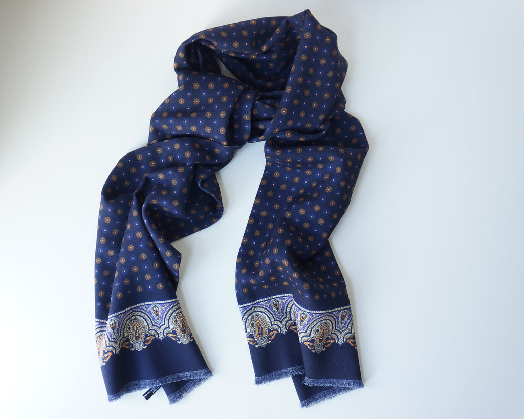 Navy geometric print pin-fringed scarf