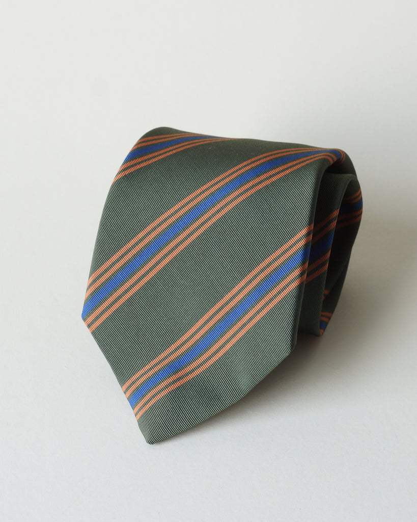 Olive club stripe Irish Poplin tie
