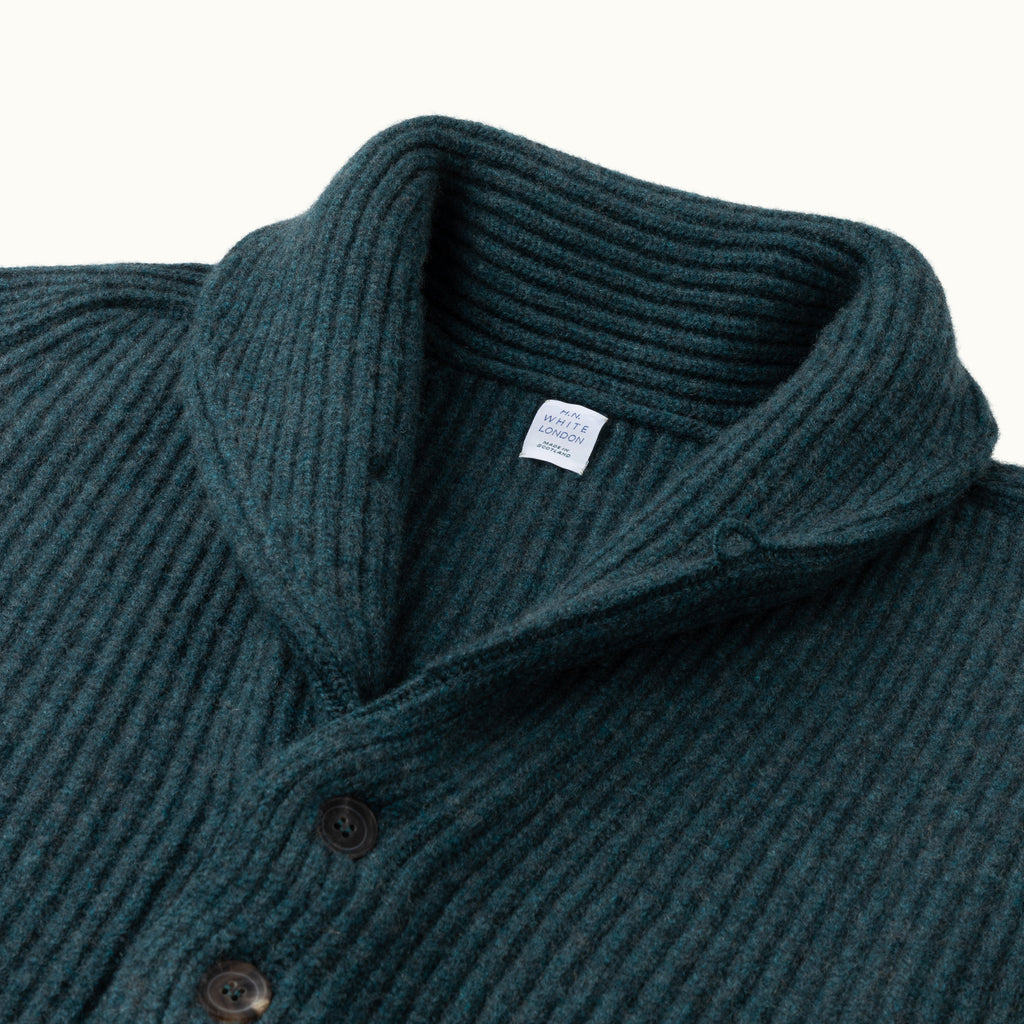Green Cashmere Shawl Collar Cardigan