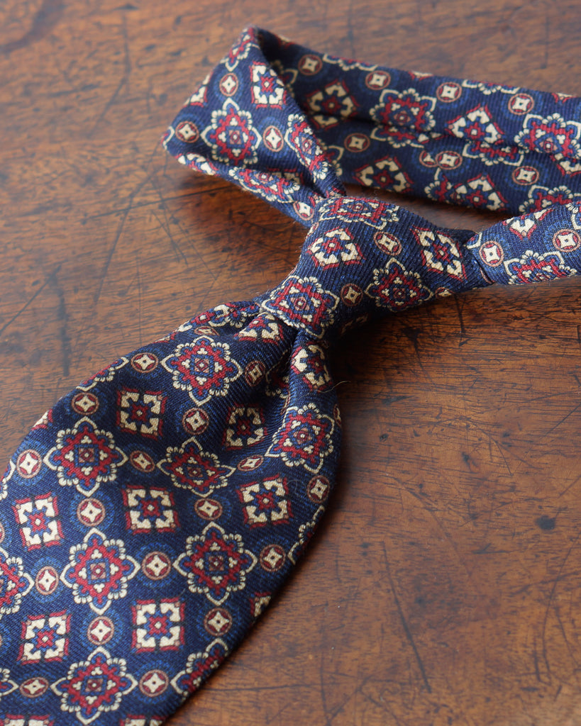 Navy large medallion wool challis tie