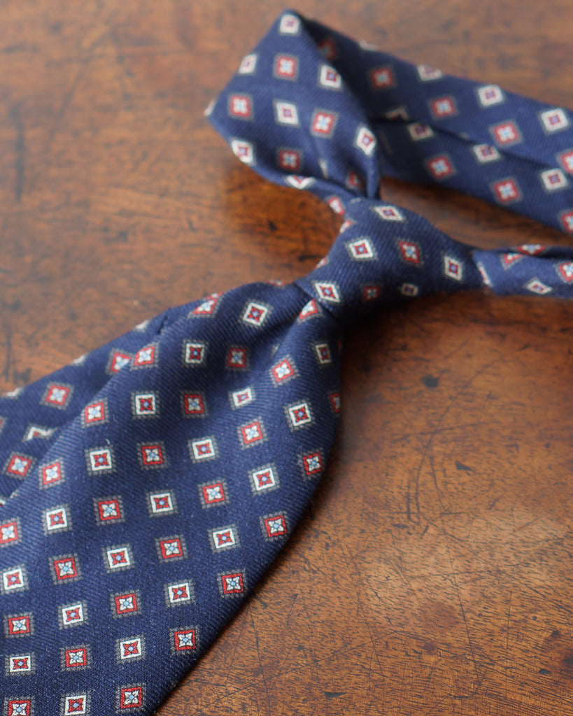 Navy red diamond wool challis tie