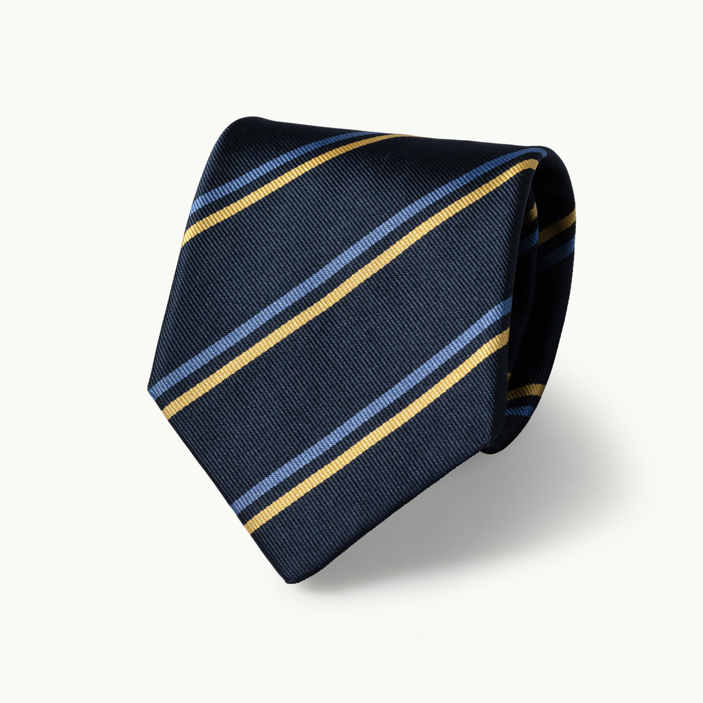 Navy, sky & gold striped silk tie