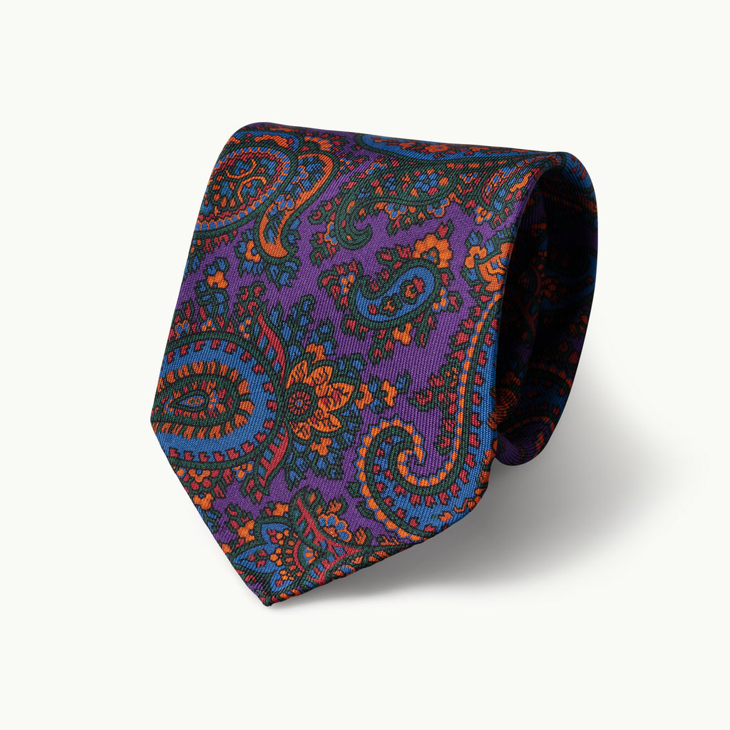 Purple Paisley Madder Tie