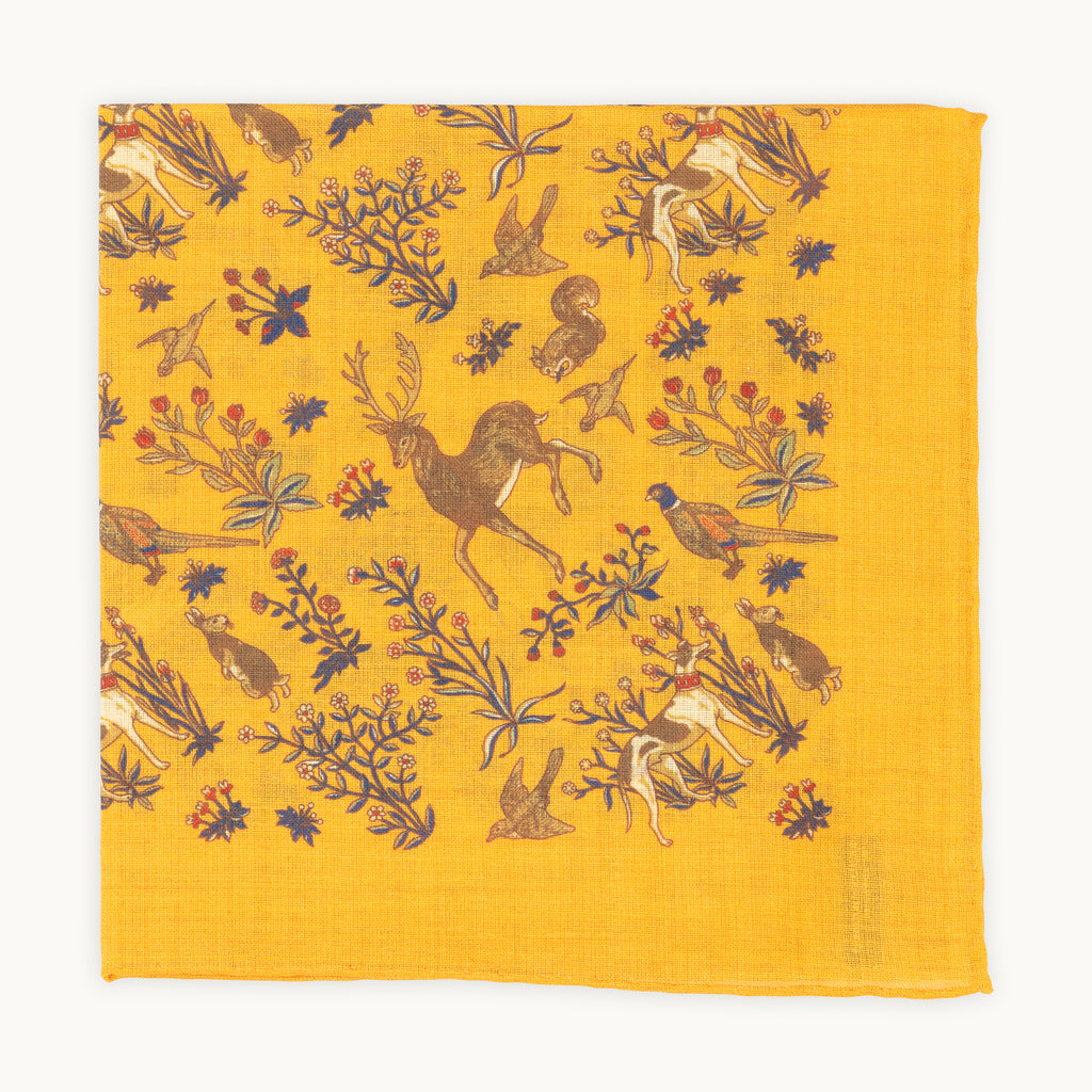Ochre animal print pocket square