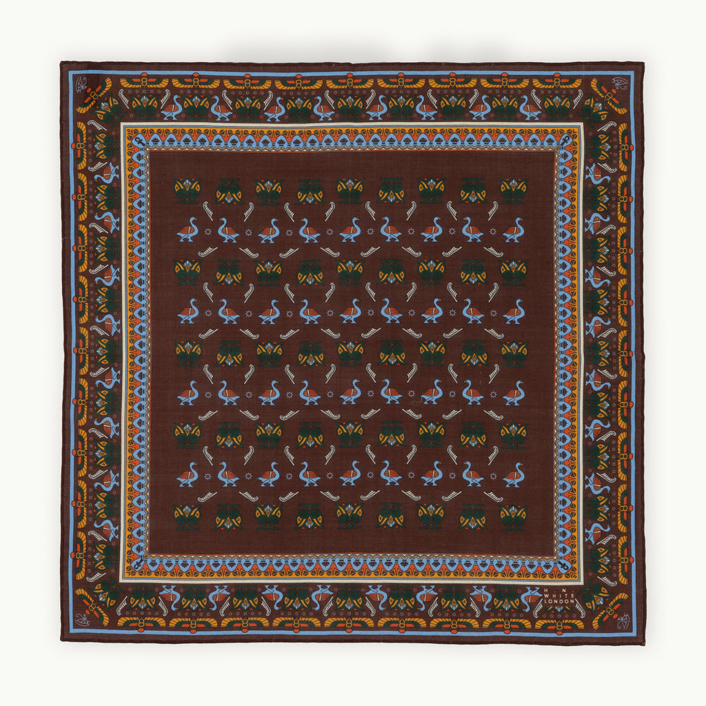 Brown & Sky Egyptian Motif Pocket Square