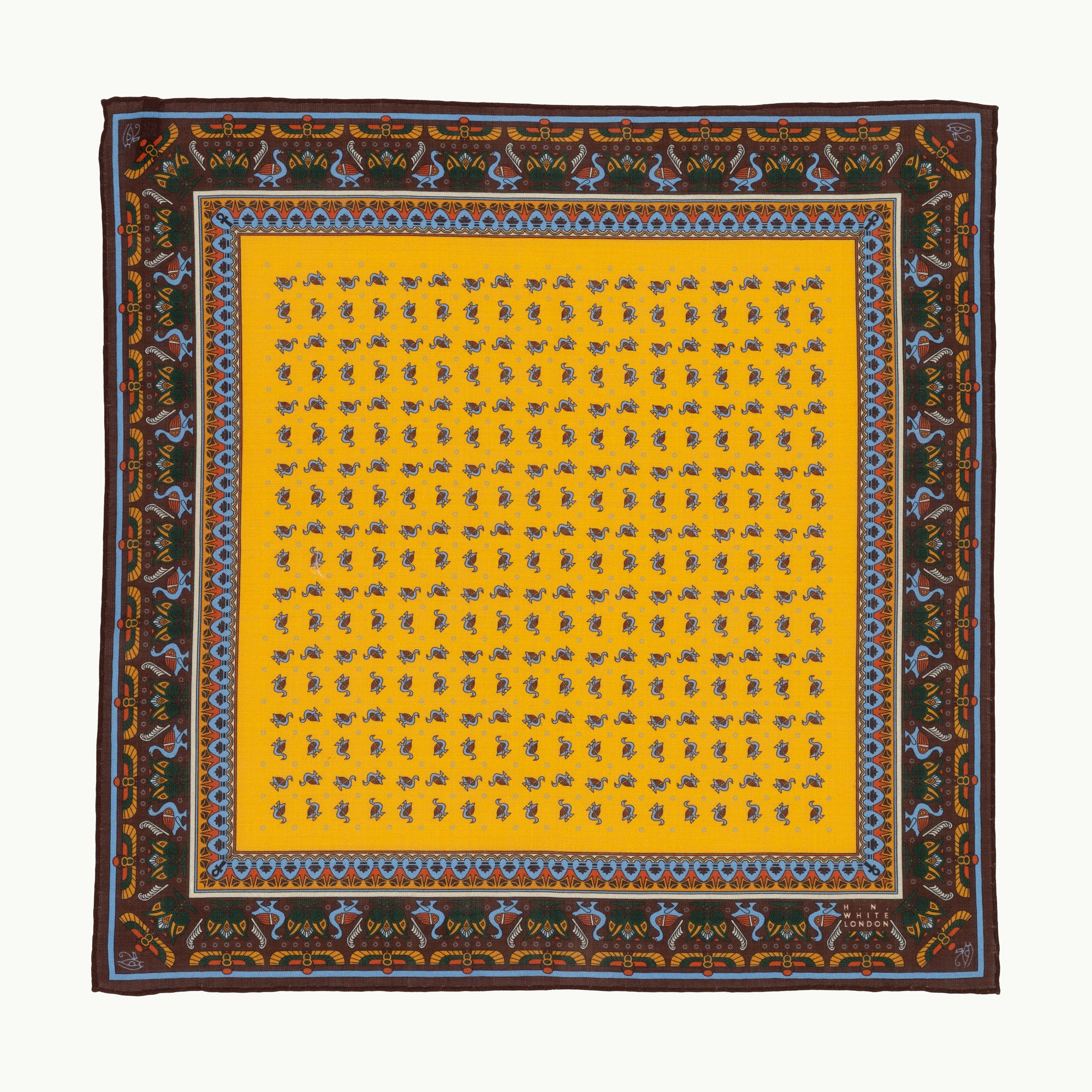 Yellow Egyptian Motif Pocket Square