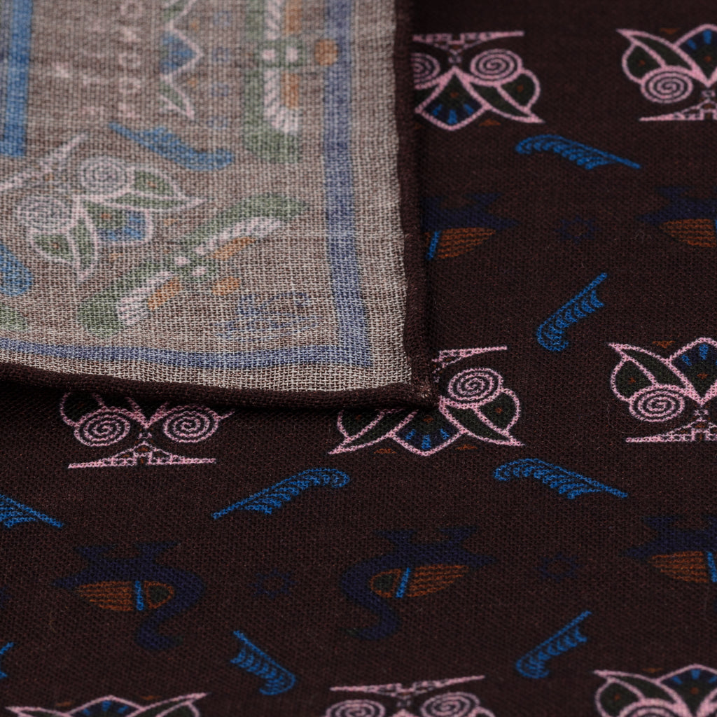 Brown & Pink Egyptian Motif Pocket Square