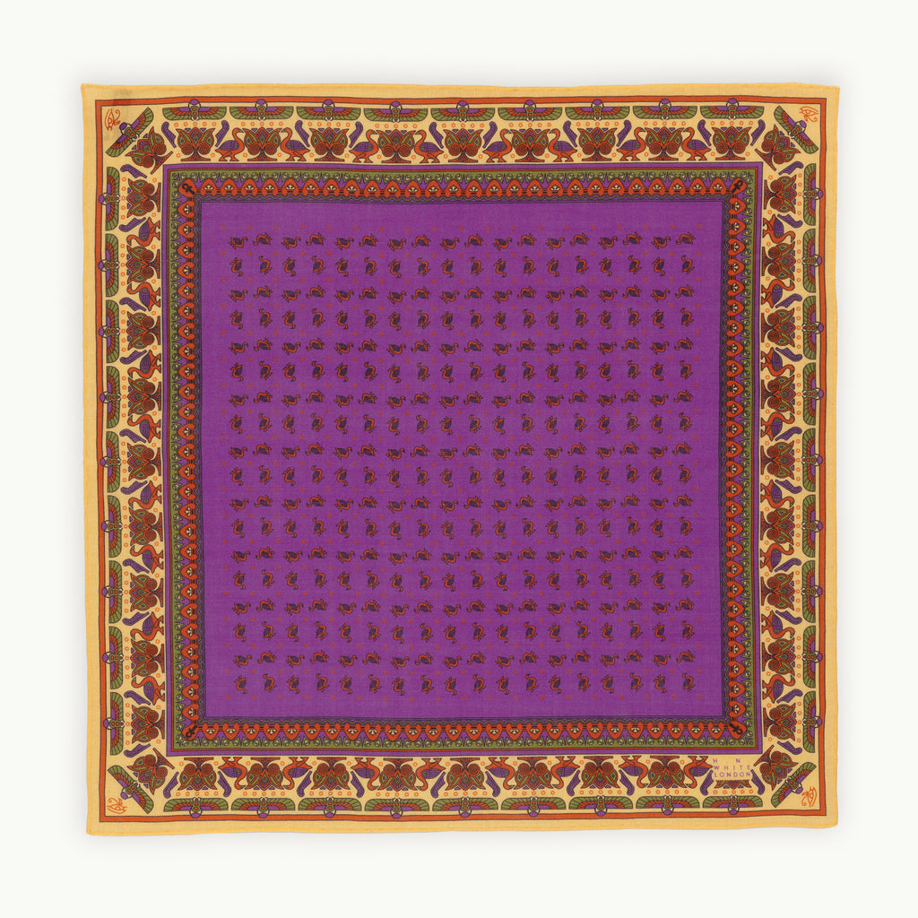 Purple Egyptian Motif Pocket Square