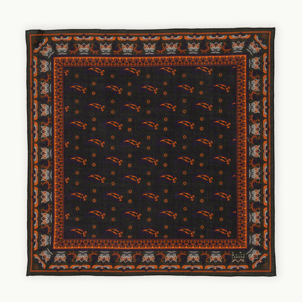 Green, Purple & Orange Egyptian Motif Pocket Square