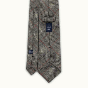 Grey Prince of Wales Red Deco Fox Flannel tie