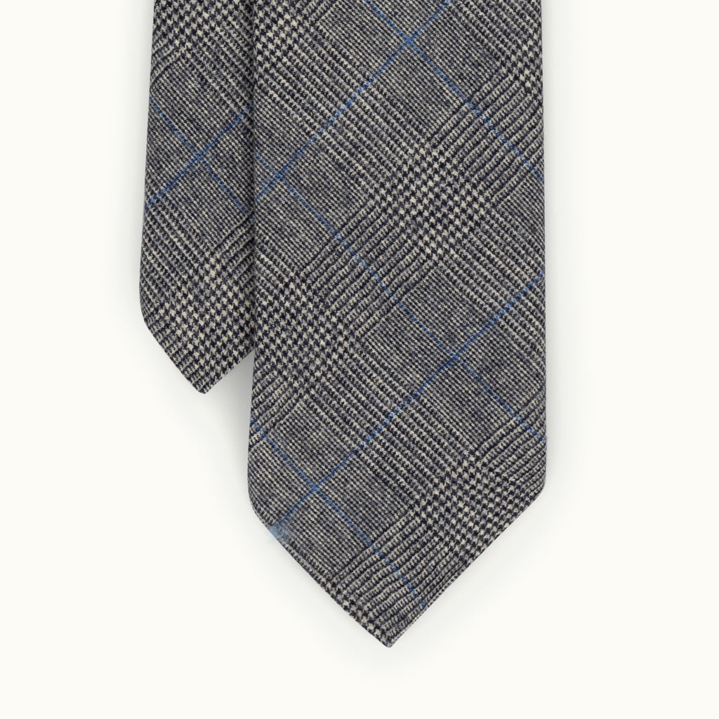 Grey Prince of Wales Blue Deco Fox Flannel tie