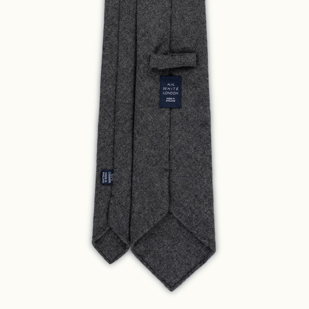 Dark Grey Herringbone Cashmere Tie