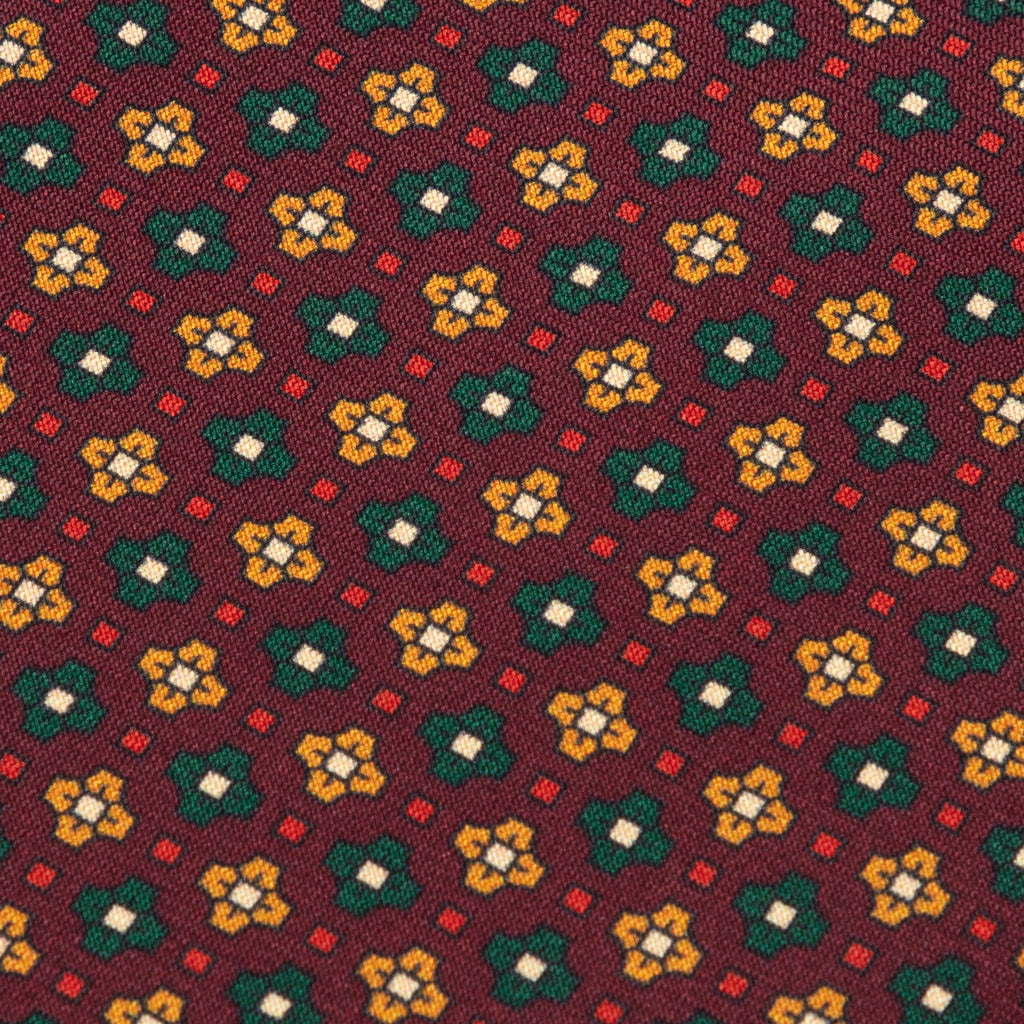 Burgundy, green & yellow print silk tie