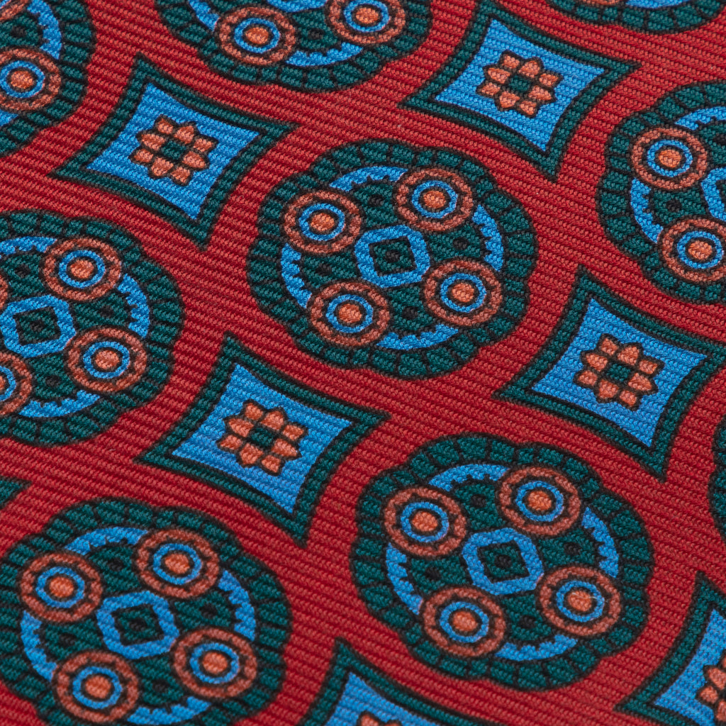 Red medallion madder tie