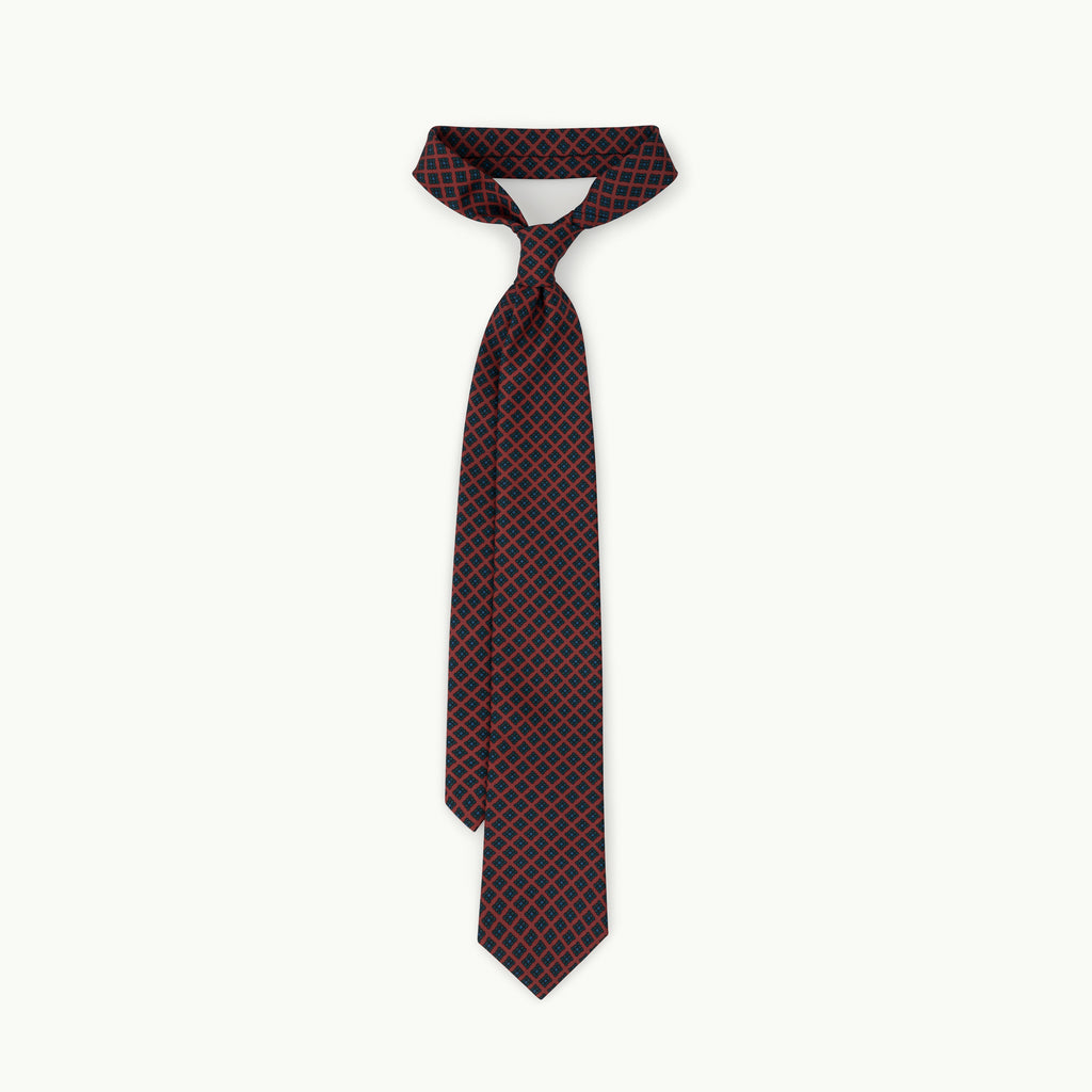 Dusty red small diamond madder tie