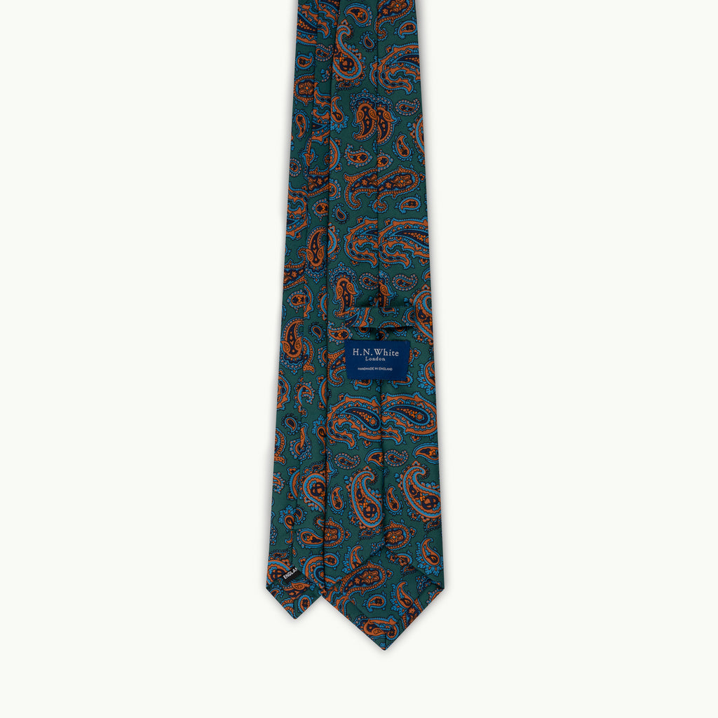 Green large paisley madder tie