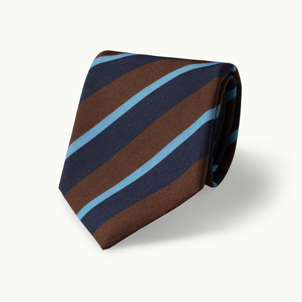 Brown, navy & sky club stripe Irish Poplin tie