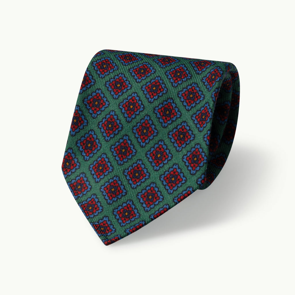Green diamond wool challis tie
