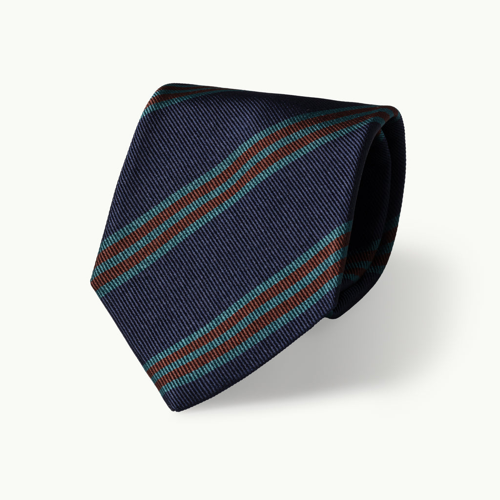 Navy, teal & rust striped silk tie