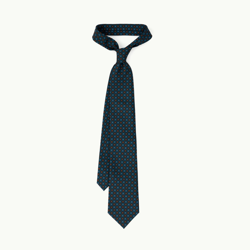 Green square neat madder tie