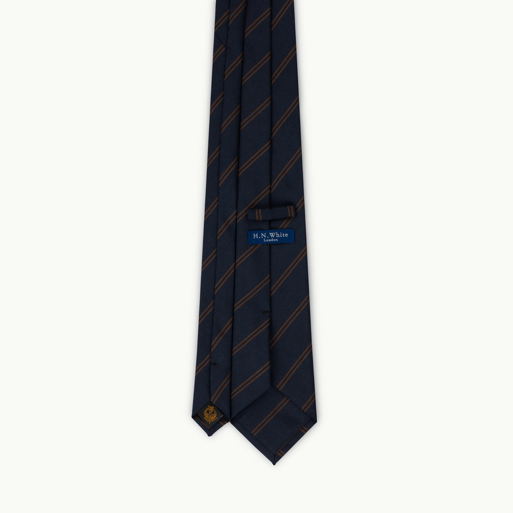Navy & copper club stripe Irish Poplin tie