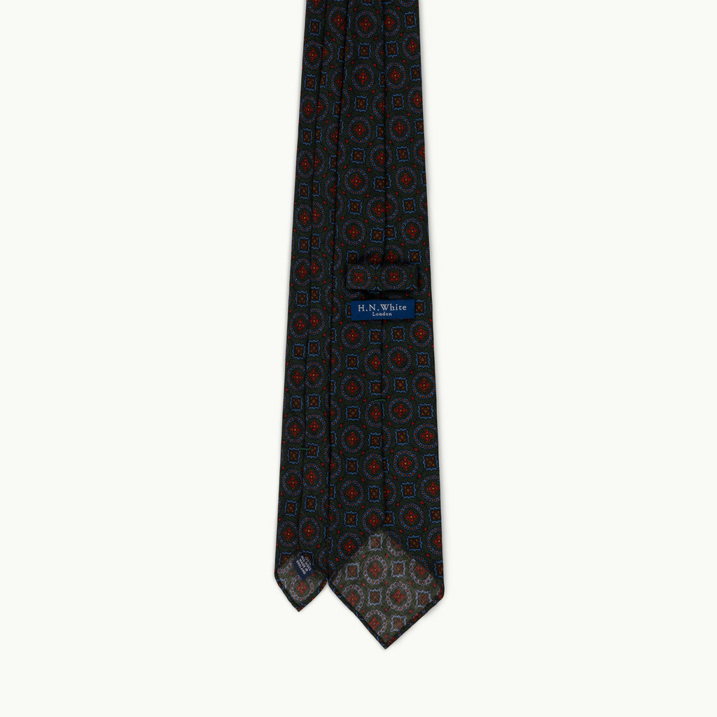 Green medallion wool challis tie