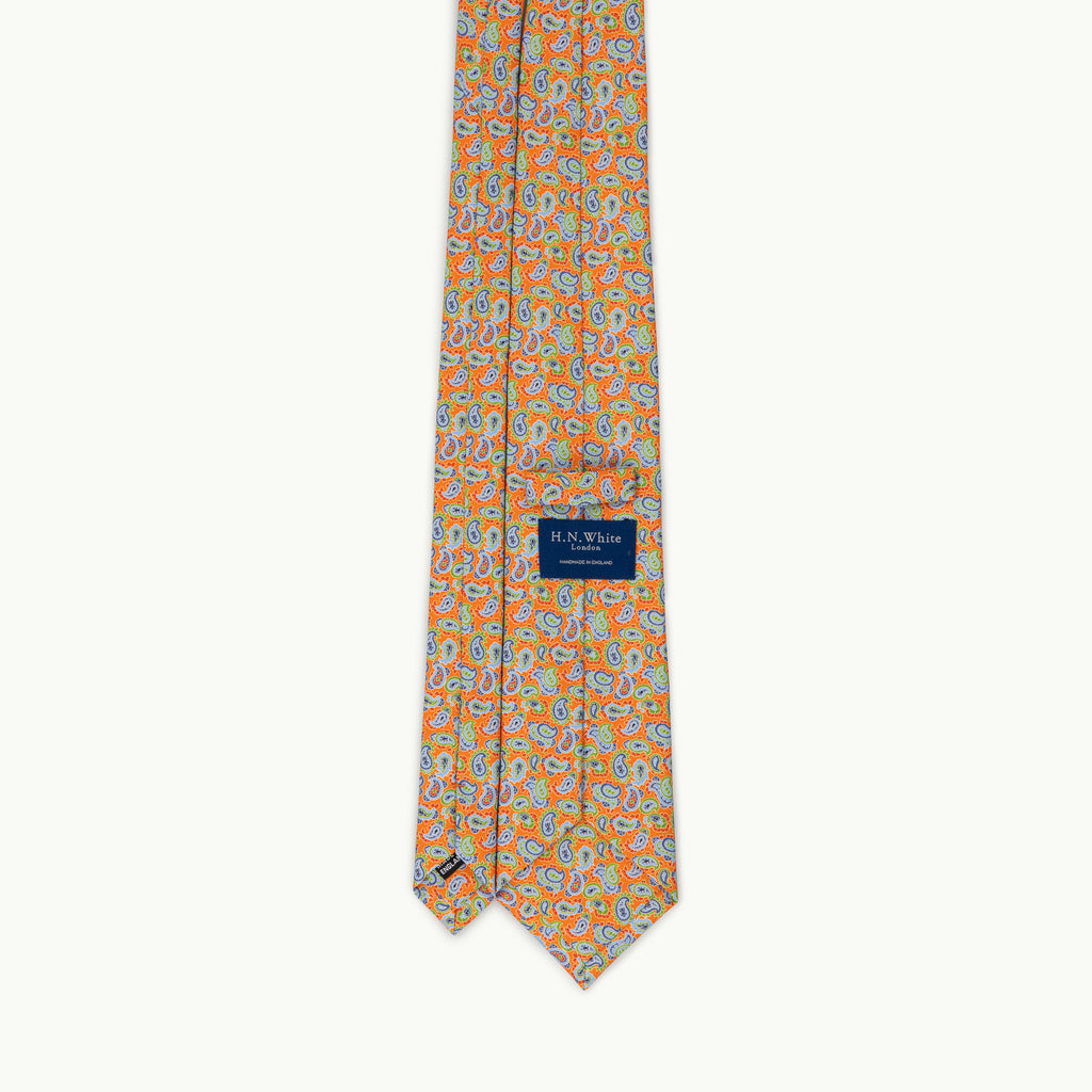 Orange paisley printed silk tie
