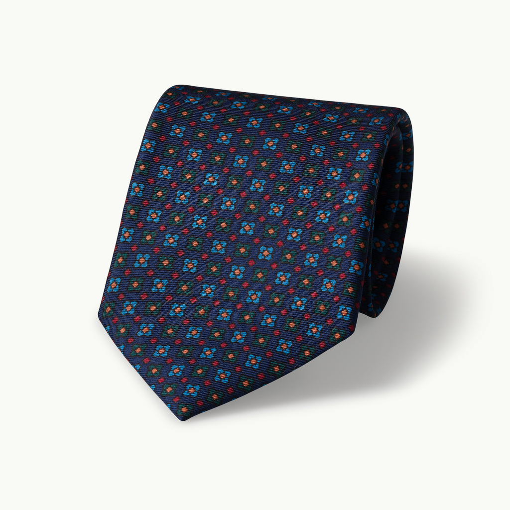 Navy square neat madder tie