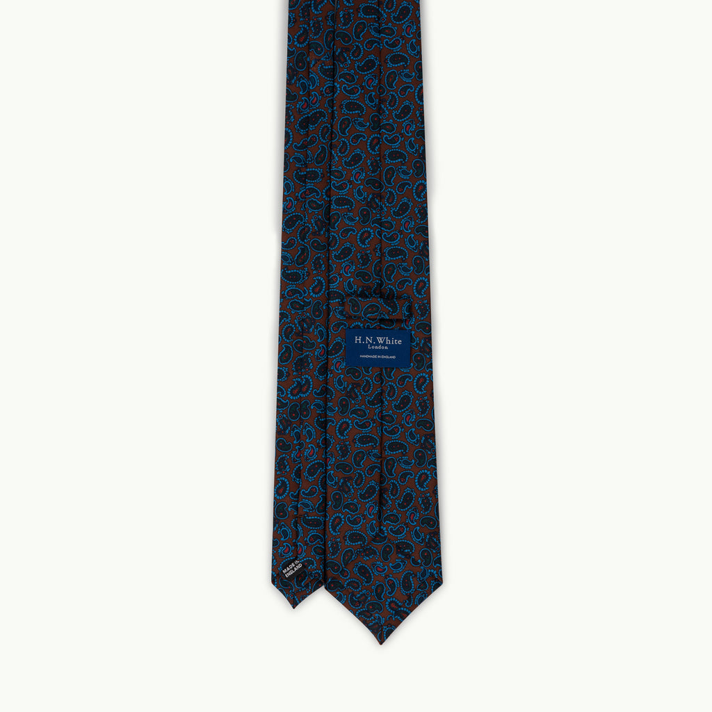 Brown small paisley madder tie