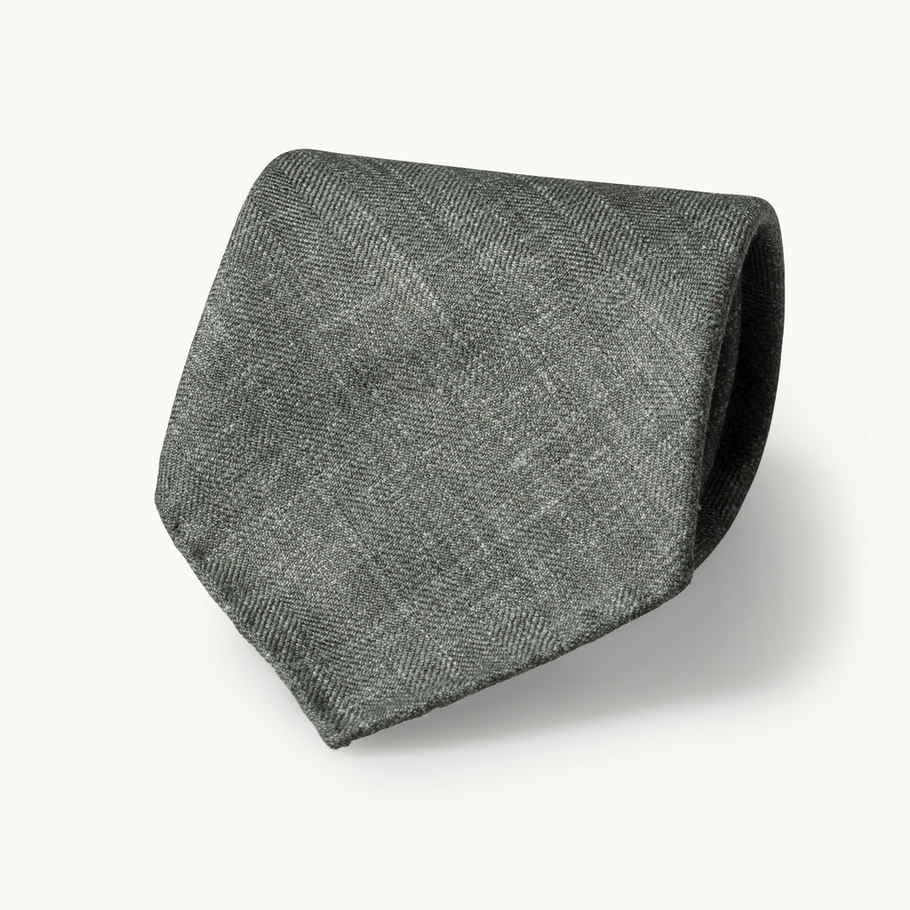 Green Wool, Linen & Silk Tie