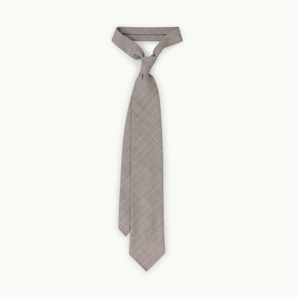 Grey/Brown Herringbone Wool, Linen & Silk Tie