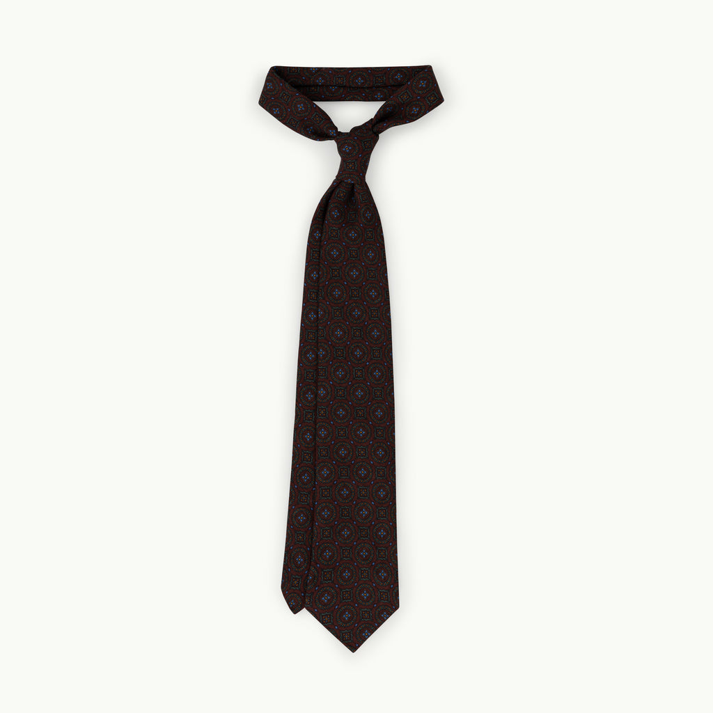 Burgundy medallion wool challis tie