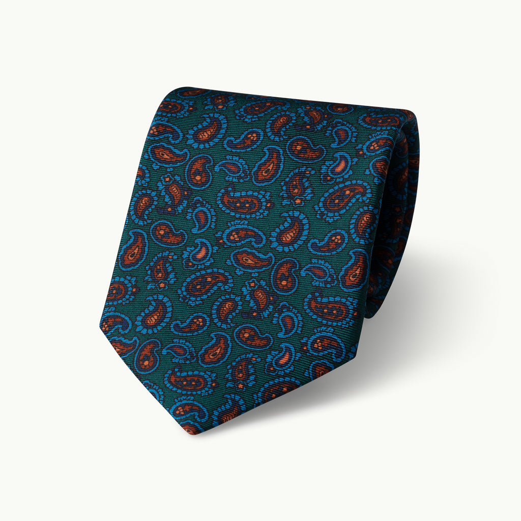 Green small paisley madder tie