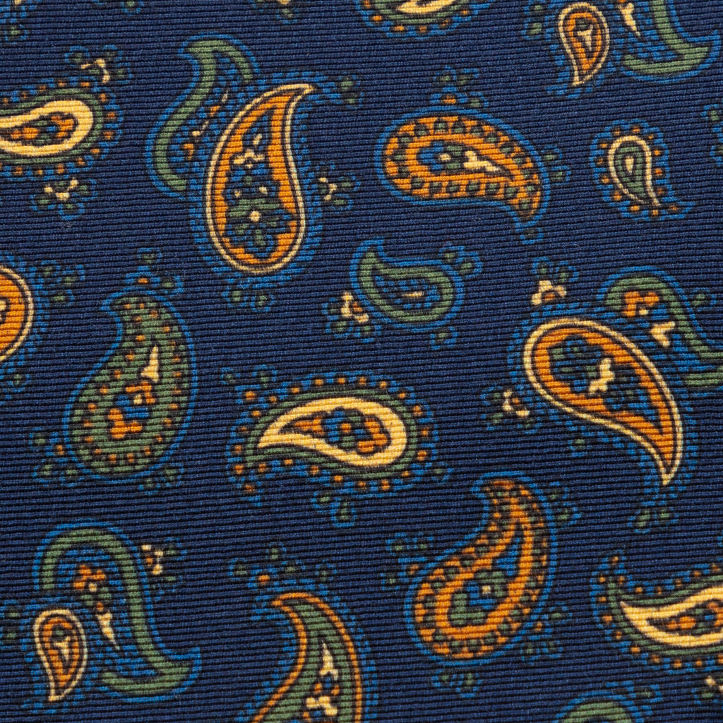 Navy blue paisley Irish Poplin tie