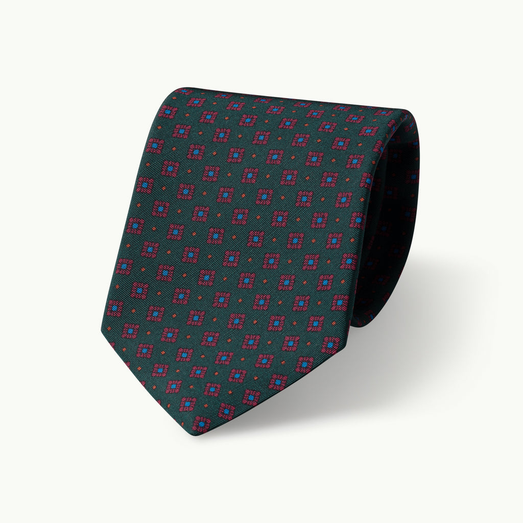 Green tile print Irish Poplin tie