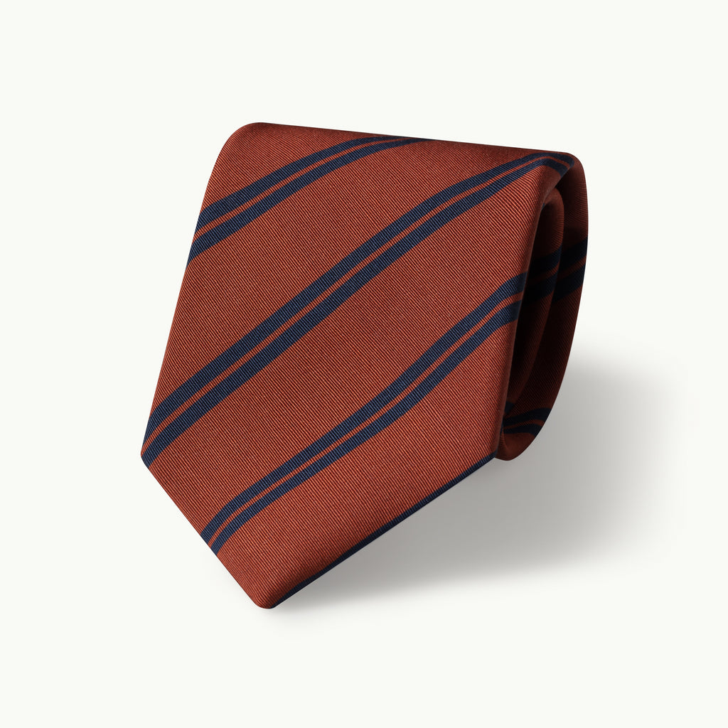 Copper club stripe Irish Poplin tie
