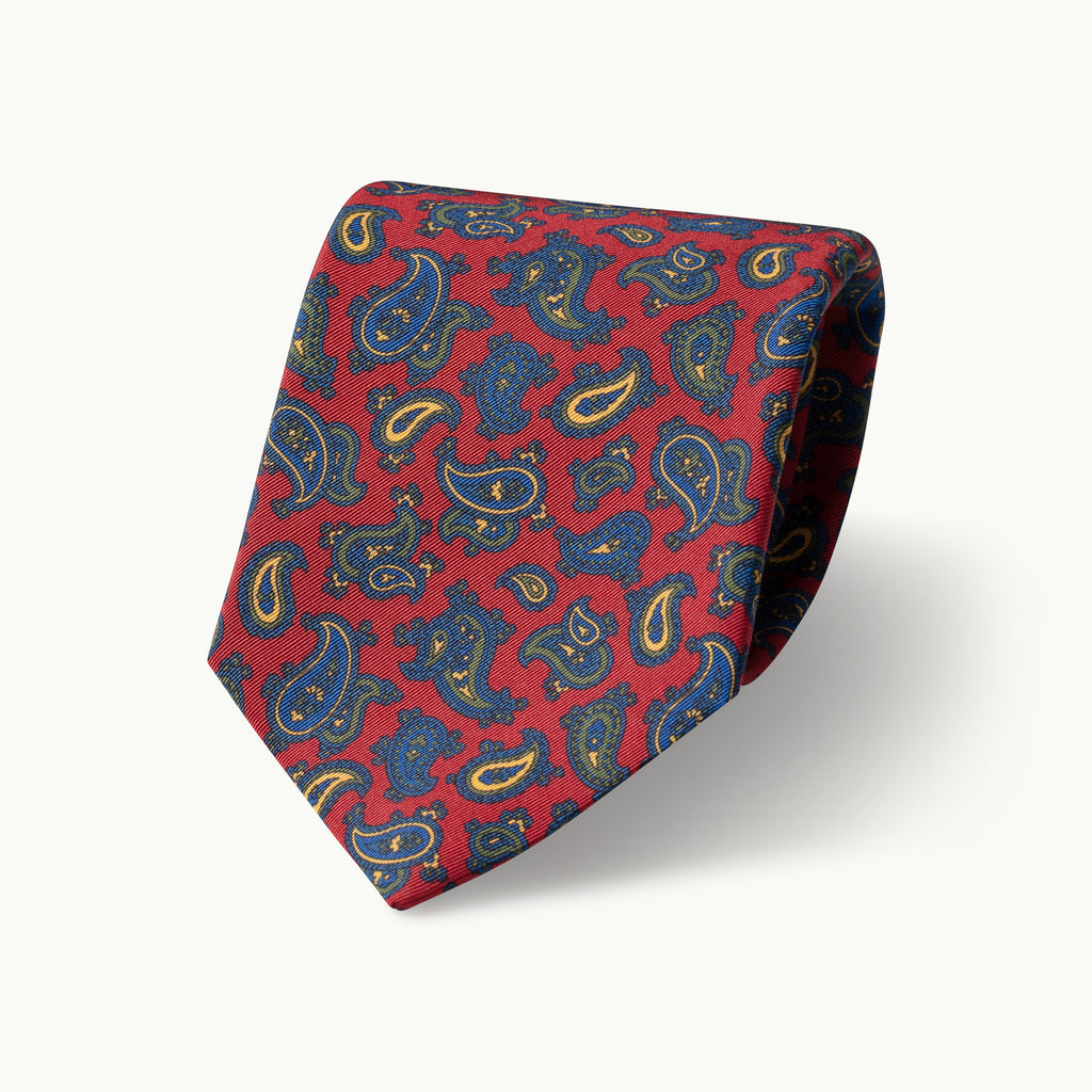 Red paisley Irish Poplin tie
