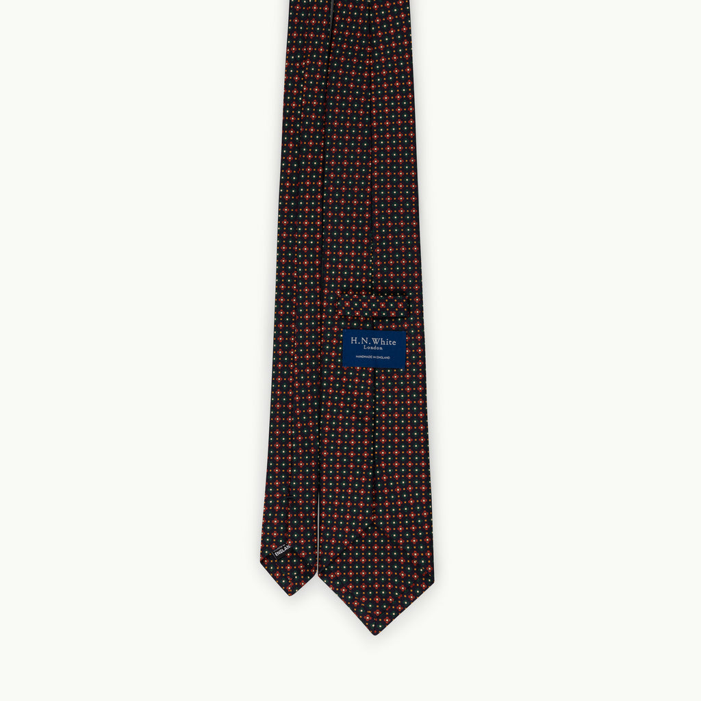 Navy, green and red print silk tie