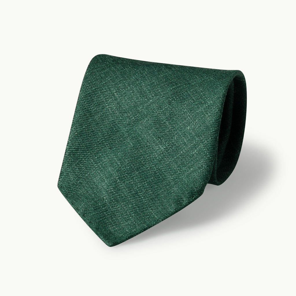 Dark Green Wool, Linen & Silk Tie