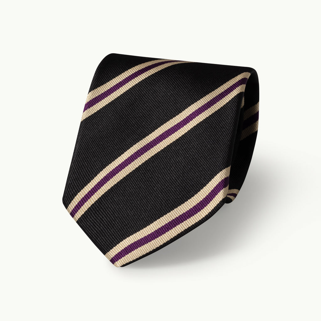 Dark olive, purple and silver striped silk tie