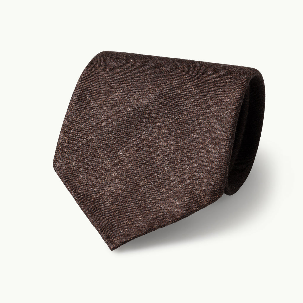 Brown Wool, Linen & Silk Tie