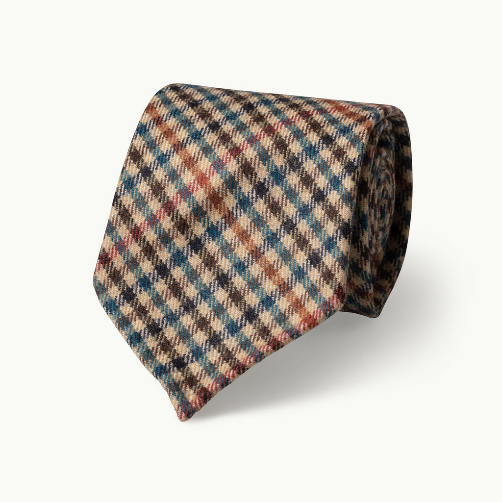Teal, tan & navy gun club wool tie