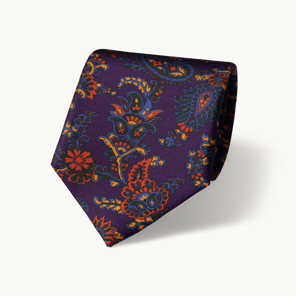 Purple paisley print silk tie