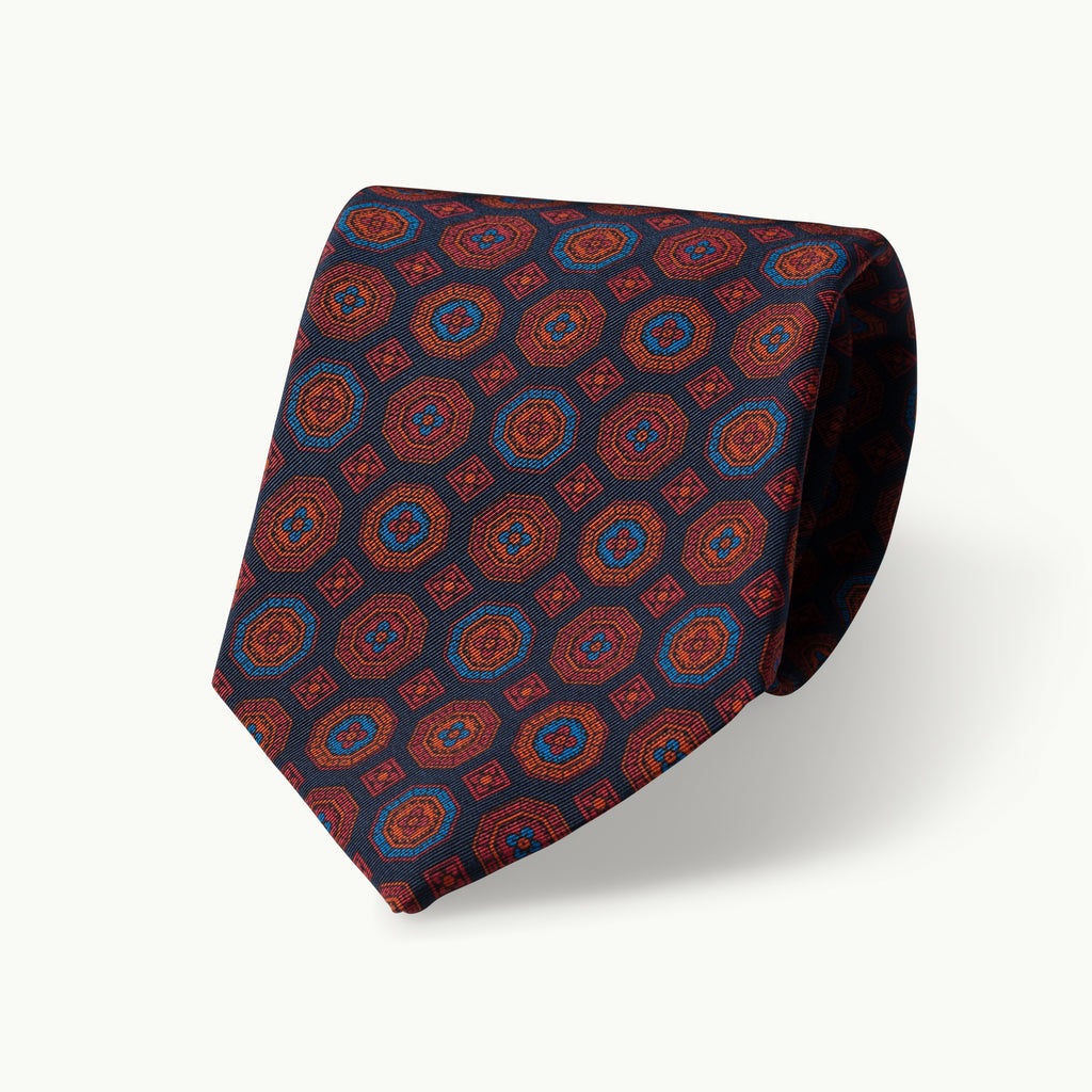 Navy medallion Irish Poplin tie