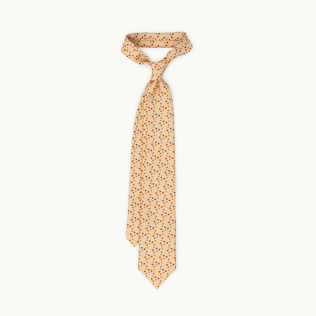 Cream floral printed silk tie