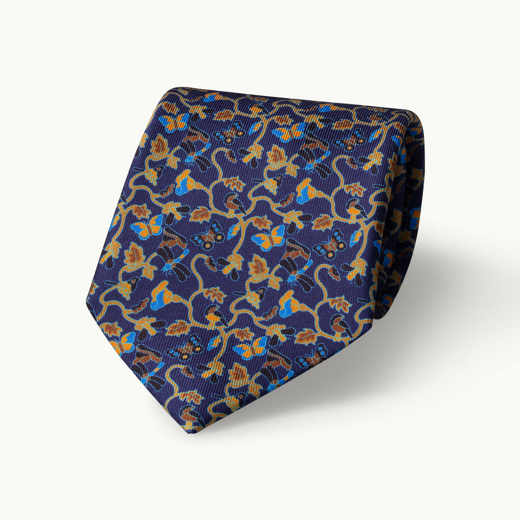 Navy butterflies printed silk tie